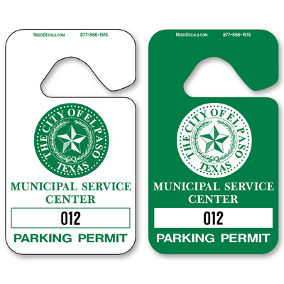 Custom parking permits allow endless design possibilities and project a professional image. Available in over 30 Stock Ink Colors or unlimited custom colors. These durable Parking Hang Tags are printed on heavy duty .035 inch material to give you the strongest parking permit available. Order today and get Free Setup, Free Numbering and Free Logo.