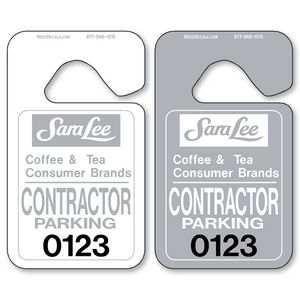 Rearview Mirror Tags allow endless design possibilities and project a professional image. Available in over 30 Stock Ink Colors or unlimited custom colors. These durable Parking Hang Tags are printed on heavy duty .035 inch material to give you the strongest parking permit available. Order today and get Free Setup, Free Numbering and Free Logo.