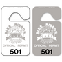 Car Mirror Hang Tags allow endless design possibilities and project a professional image. Available in over 30 Stock Ink Colors or unlimited custom colors. These durable Parking Hang Tags are printed on heavy duty .035 inch material to give you the strongest parking permit available. Order today and get Free Setup, Free Numbering and Free Logo.