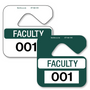 Hanging Parking Permit Tags allow endless design possibilities and project a professional image. Available in over 30 Stock Ink Colors or unlimited custom colors. These durable Parking Hang Tags are printed on heavy duty .035 inch material to give you the strongest parking permit available. Order today and get Free Setup, Free Numbering and Free Logo.