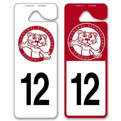 Parent Pickup Tags allow endless design possibilities and project a professional image. Available in over 30 Stock Ink Colors or unlimited custom colors. These durable Parking Hang Tags are printed on heavy duty .035 inch material to give you the strongest parking permit available. Order today and get Free Setup, Free Numbering and Free Logo.