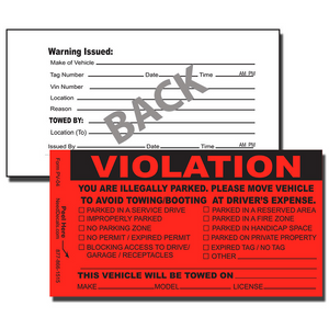 Our PV-04 Parking Violation Stickers are designed to notify offenders that they have improperly parked.