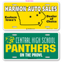 Custom Two Color (plus white) License Plates are printed on hi impact .035 Polyethylene with your graphics. License plates are perfect for car dealerships, schools, clubs, fundraisers etc. Order yours today.