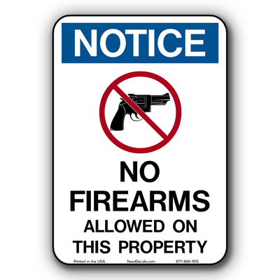 No Guns, No Firearms , No Weapons Allowed Window & Door Decals