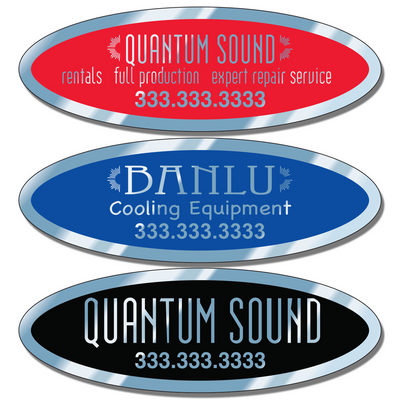 Call for service stickers Chrome 3 3/4 X 1 1/4 Inch ID Decals