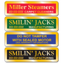 """Gold equipment stickers measure 2 7/8"""" x 3/4 """" shiny gold material."""