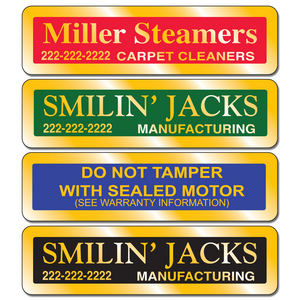 "Gold equipment stickers measure 2 7/8"" x 3/4 "" shiny gold material."