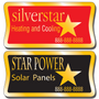 These service stickers for equipment are extremely durable and are available in three finishes: Chrome, Gold, and Brushed Aluminum.