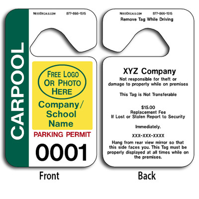 4-Color Process Custom Carpool Parking Permit Hang Tags allow endless design possibilities and project a professional image.