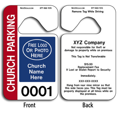These durable Church Parking Permit Hang Tags are UV laminated front and back to give you the strongest parking permit available. Order today and get Free Numbering and Free Back Printing. These Hang Tags measure are 2 3/4 x 4 3/4 inches.