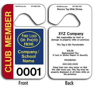 Custom Car Parking Hang Tag Permits allow endless design possibilities and project a professional image. Free Numbering, Free Logo and Free Back-Printing. These Hang Tags measure are 2 3/4 x 4 3/4 inches.