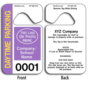 These durable Custom Parking Permits are UV laminated front and back to give you the strongest parking permit available. Order today and get Free Numbering and Free Back Printing.