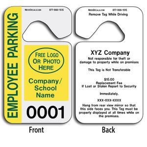 Full Color Custom Parking Hang Tags allow endless design possibilities and project a professional image. These durable Custom Parking Hang Tags are UV laminated front and back to give you the strongest parking permit available.
