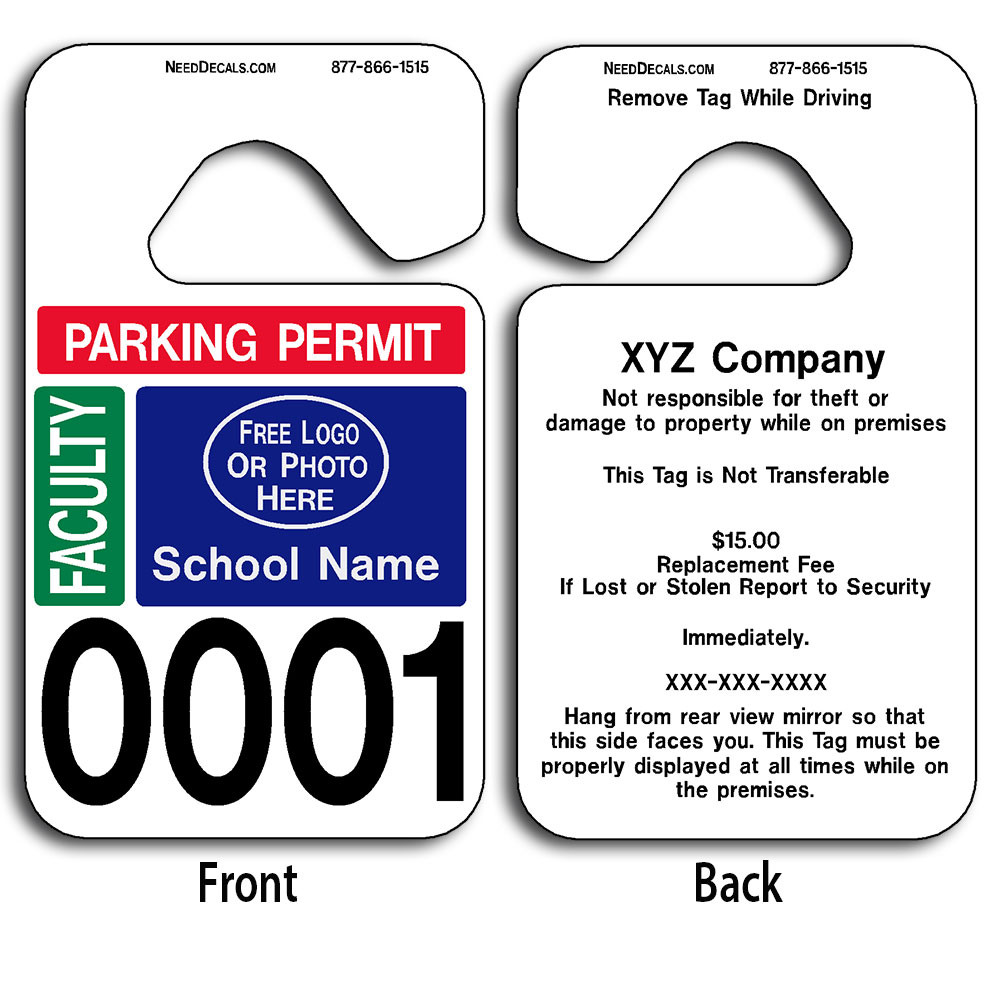 Faculty parking permit hang tag permits 50 to for Hanging parking permit template free