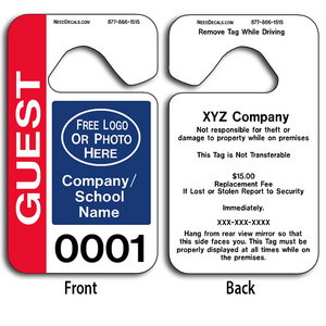These durable Custom Guest Parking Permits are UV laminated front and back to give you the strongest parking permit available. Order today and get Free Numbering and Free Back Printing. These Hang Tags measure are 2 3/4 x 4 3/4 inches.