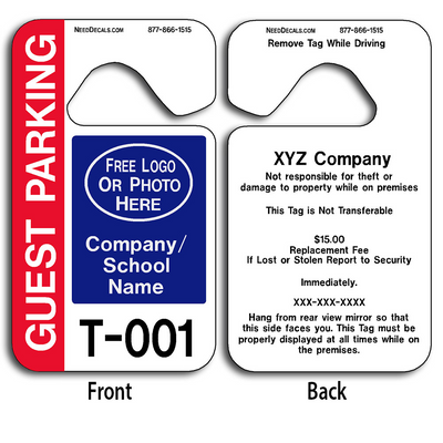Full Color Custom Guest Parking Permits allow endless design possibilities and project a professional image. These durable Custom Guest Parking Permits are UV laminated front and back to give you the strongest parking permit available.
