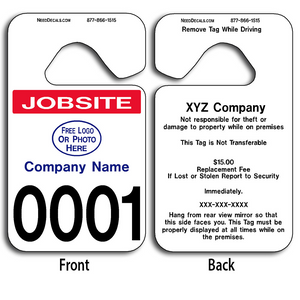 These durable Custom Jobsite Parking Permit Hang Tags are UV laminated front and back to give you the strongest parking permit available. Order today and get Free Numbering and Free Back Printing.
