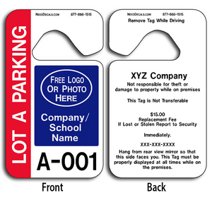 Numbered Parking Hang Tags are UV laminated front and back to give you the strongest parking permit available. Order today and get Free Numbering and Free Back Printing.
