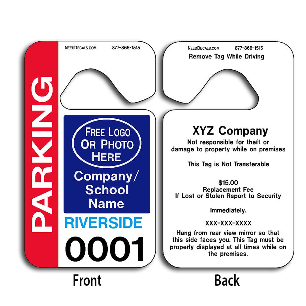 Parking permit hang tags 50 to 2 500 free for Hanging parking permit template free