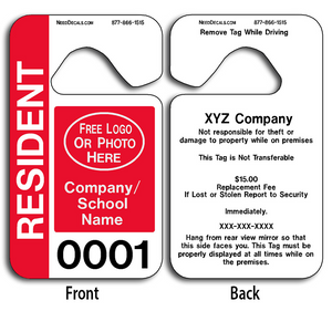 These durable Custom Resident Parking Permit Hang Tags are UV laminated front and back to give you the strongest parking permit available. Order today and get Free Numbering and Free Back Printing. These Hang Tags measure are 2 3/4 x 4 3/4 inches.