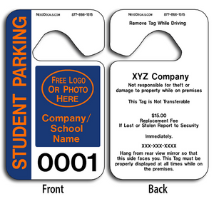 School Pick Up Tags allow endless design possibilities and project a professional image. These durable School Pick Up Tags are UV laminated front and back to give you the strongest parking permit available.