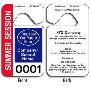 These durable School Parking Hang Tags are UV laminated front and back to give you the strongest parking permit available. Order today and get Free Numbering and Free Back Printing. These Hang Tags measure are 2 3/4 x 4 3/4 inches.