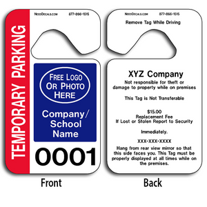 Full Color Hanging Parking Tags allow endless design possibilities and project a professional image. These durable Hanging Parking Tags are UV laminated front and back to give you the strongest parking permit available. Order today and get Free Numbering and Free Back Printing.