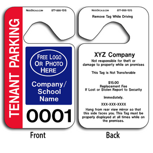 Hanging Parking Tags allow endless design possibilities and project a professional image. These durable Hanging Parking Tags are UV laminated front and back to give you the strongest parking permit available.
