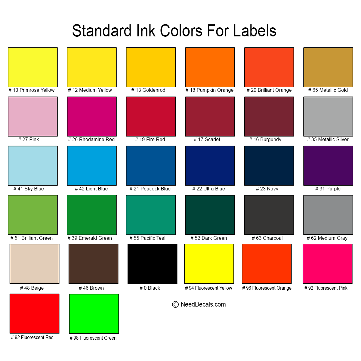 Color Chart, Standard Ink Colors