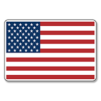 "American Flag Stickers - 2"" X 3"" - Roll of 100"