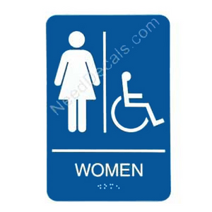 09005 Women's Handi Rstrm Sign Braille - Inventory Reduction Sale