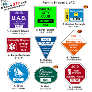 These custom windshield parking permits are printed on High Performance 3M Clear Material to give you many years of service. All of our windshield permits are back-printed with White ink at no additional charge so the permits will be more visible on your tinted windshields.