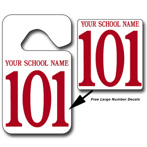 Student Pick-Up Tags & Free Large Number Decals - 25 Per Pack