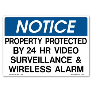 Video Surveillance & Wireless Alarm Decals