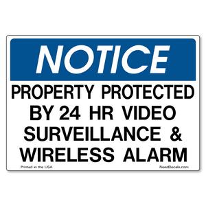 Video Surveillance & Wireless Alarm Decals