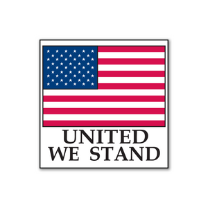 "United We Stand Flag Sticker -- 2"" x 2"" - Rolls of 100"
