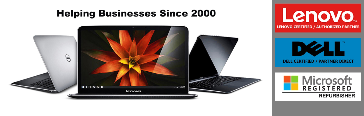 "The image shows a variety of laptops that Notebook Avenue carries as well as the statement, ""Helping Businesses Since 2000"" to showcase our experience as indicated by out Lenovo Certified, Dell Certified, and Microsoft Registered Refurbisher status."