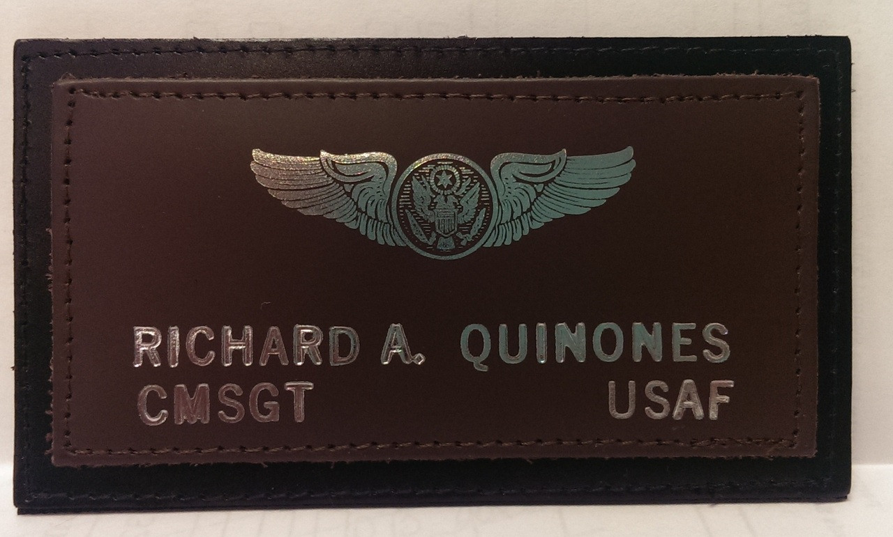 Two Layer Usaf Leather Nametag Wings And Things Monogramming