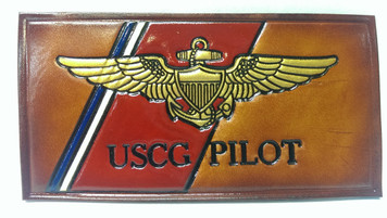 NEW! Embossed Leather Coast Guard Nametag