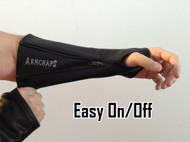 Leather arm protection to prevent cuts, scratches, and bruising.