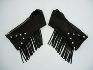 Black Fringed Studded (on Forearm only) Leather Arm Chaps