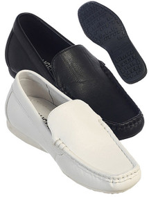 Boy's Black/White Leather Loafers