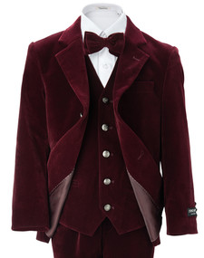 Toddler/Boy Velvet Blazer - Burgundy
