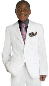 Boy's White 2 Piece Husky Suit