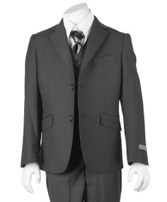 Boy's Charcoal Gray 3 Piece Classic Suit