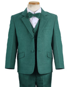 Boy's Green Wool-Look 4 Piece Suit Slim Fit
