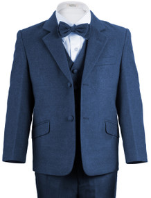 Boy's Indigo Blue Wool-Look 4 Piece Suit Slim Fit