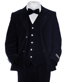 Toddler/Boy Velvet Suit 4 Piece -  Navy