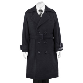 Boy's Navy Double Breasted Hooded Dress Coat