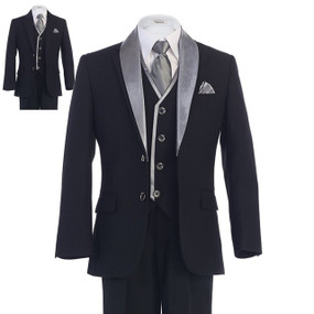 Boy's Black Suit with Removable Silver Lapel
